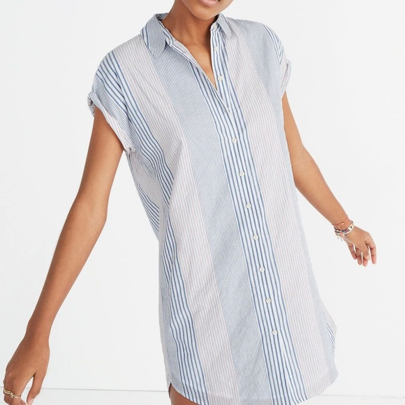 Madewell Tops - Madewell Central Shirtdress in Rawley Stripe XS